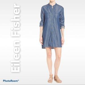 Eileen Fisher S mandarin collar shirt dress